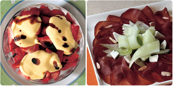 strawberries with zabaione and bresaola with cucumber, from cucina italiana