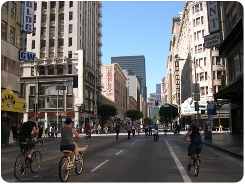 downtown during cicLAvia