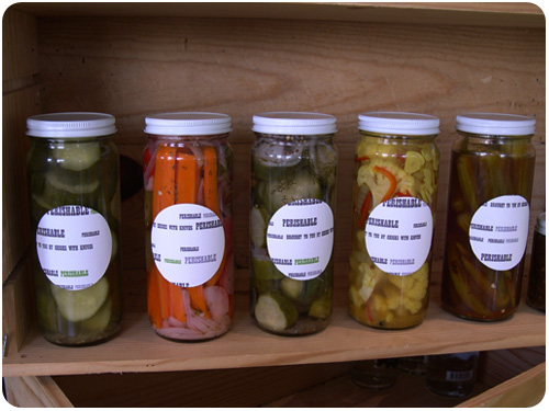 perishable pickles packaging at artisanal LA