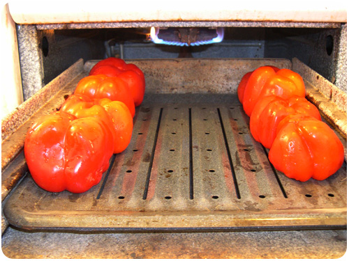 peppers in the roasting oven