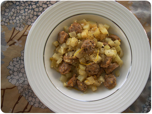 kohlrabi with sausage and lemon