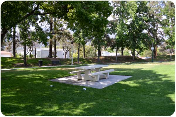 eaton sunnyslope picnic table in the shade