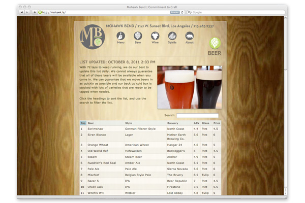 mohawk bend web site interactive beer list