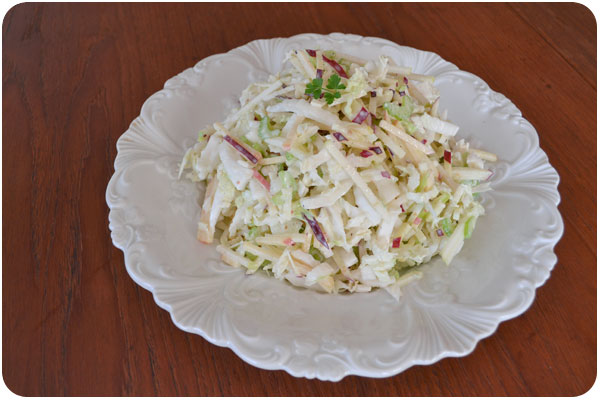 apple, celery & lemony yogurt slaw