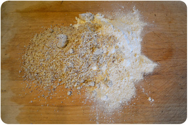 3 flours on the cutting board
