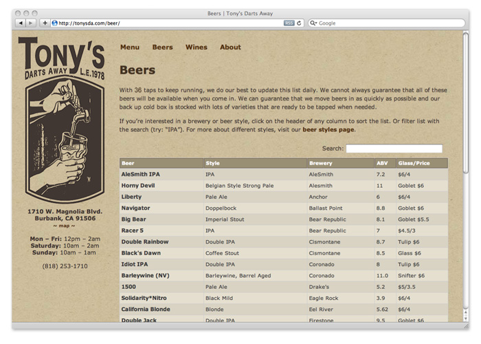 tony's darts away, interactive beer list
