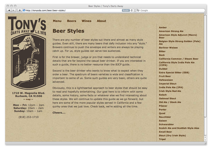 tony's darts away, beer styles library