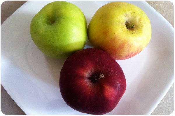 granny smith, fuji and red delicious apples