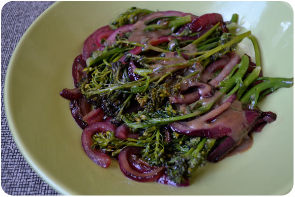 glazed sprouting broccoli & caramelized red onions
