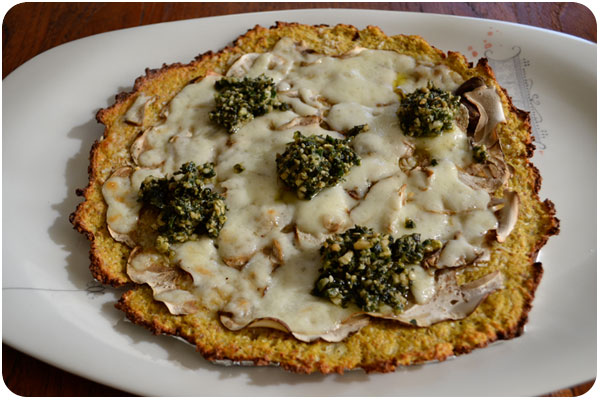 porcini & parmesan cauliflower crust pizza