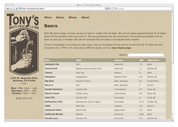 Searchable Beer List