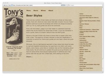 Index of Beer Styles